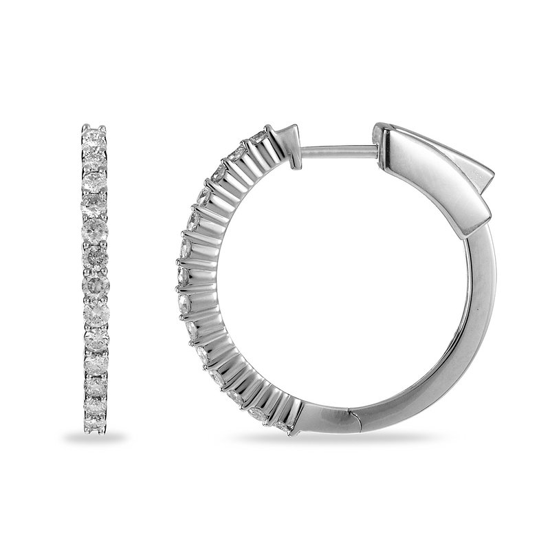 BB Impex 14K WG Diamond Hoops/Huggies Ear-rings