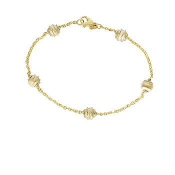 14K Gold Satin Bead Station Bracelet