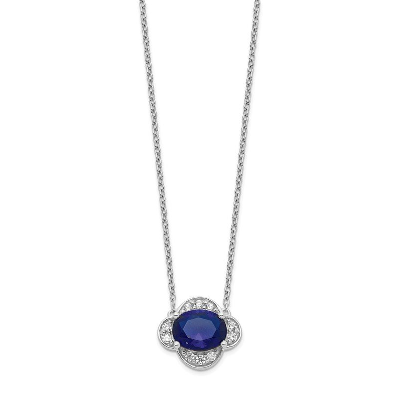 Quality Gold 14k White Gold Diamond and Oval Sapphire 18 inch Necklace