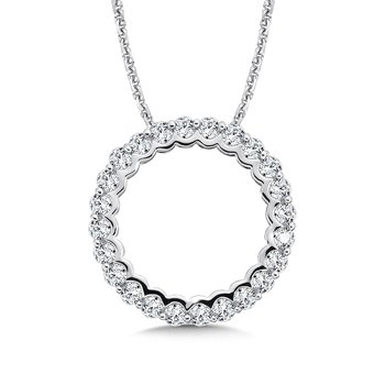 CARO 74 Circle Diamond Pendant in 14K White Gold