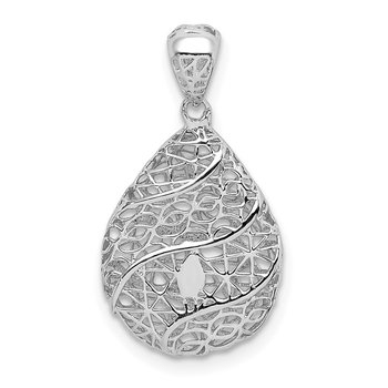 Sterling Silver Rhodium-plated Polished Hollow Tear Drop Pendant
