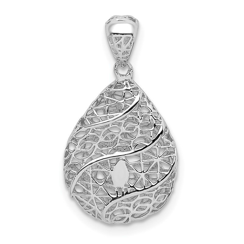 Quality Gold Sterling Silver Rhodium-plated Polished Hollow Tear Drop Pendant