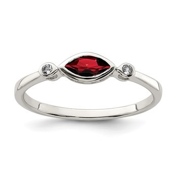 Sterling Silver Polished Garnet and White Topaz Ring
