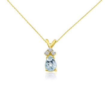14k Yellow Gold 7X5 Aquamarine Pear Pendant with Diamonds