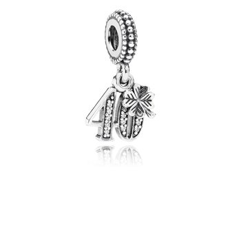 40 Years Of Love Dangle Charm, Clear Cz