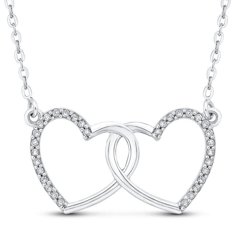 Essentials 10K White Gold .13 ct White Diamond Double Heart Pendant with Chain