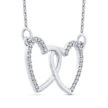 10K White Gold .13 ct White Diamond Double Heart Pendant with Chain