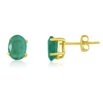 14k Yellow Gold Oval Emerald Stud Earring