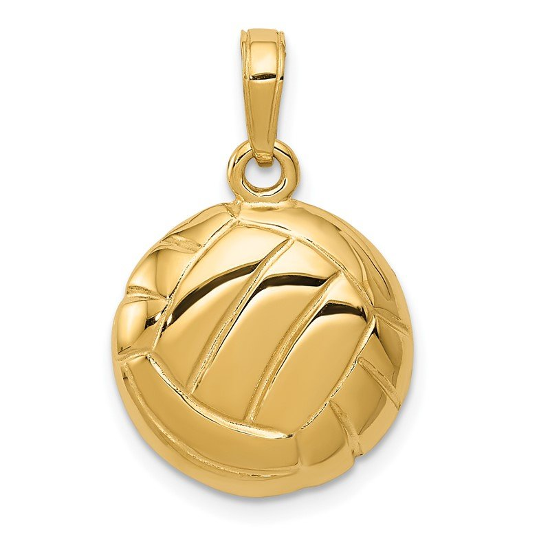 Quality Gold 14k Polished Open-Backed Volleyball Pendant