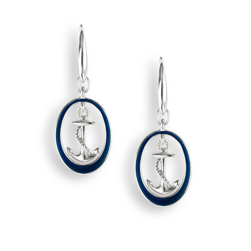 Nicole Barr Designs Blue Anchor Wire Earrings.Sterling Silver