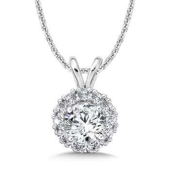 Diamond Round Halo Pendant with Split Bale in 14K White Gold (3/4ct. tw.)