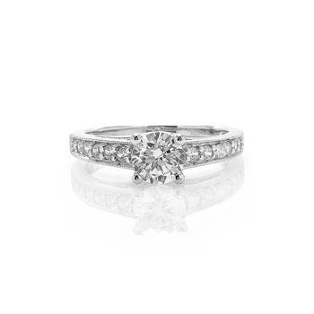 Classic Milgrain Design Diamond Engagement Ring