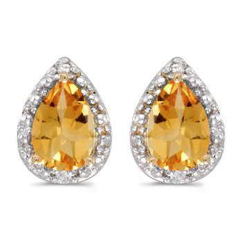 14k Yellow Gold Pear Citrine And Diamond Earrings