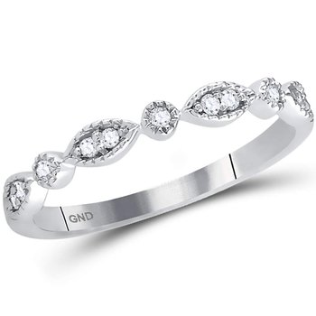 14kt White Gold Womens Round Diamond Stackable Band Ring 1/10 Cttw