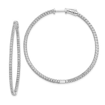 Sterling Silver CZ 156 Stones In and Out Round Hinged Hoop Earrings