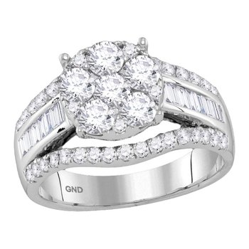 14kt White Gold Womens Round Diamond Cluster Bridal Wedding Engagement Ring 1-7/8 Cttw