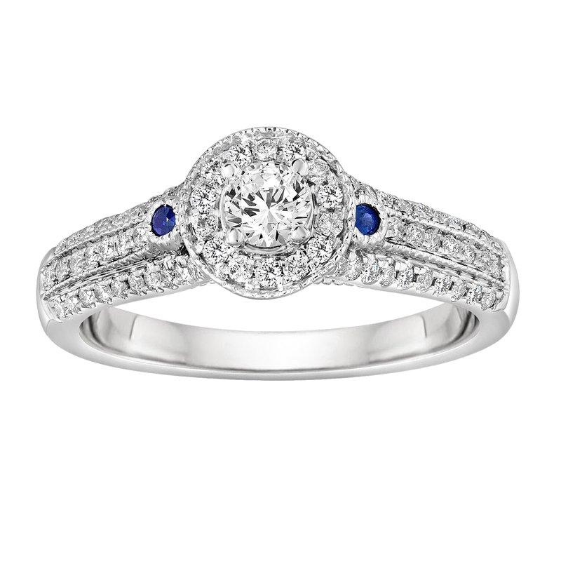 Blissful Bride BLISS9: 14KW Round Halo with Sapphires Engagement Ring