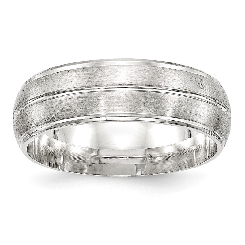 Bridal Wedding Bands Fancy Bands SS 7mm Brushed Fancy Band Size 10 Size 7