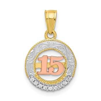 10K Two-tone w/White Rhodium CZ 15 Round Pendant