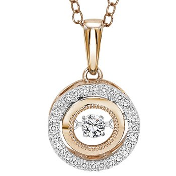 14K Rose & White Gold Diamond Pendant 1/7 ctw