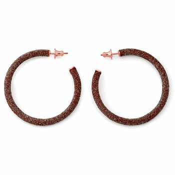 Small Polvere Di Sogni Hoop Earrings - Beige Polvere & Rose Gold