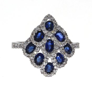 14k White Gold Leaf Oval Sapphire and Diamond Ring