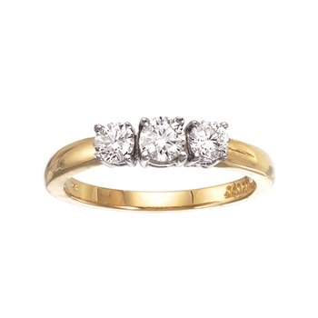 14k Yellow Gold 0.50 Ct Three Stone Diamond Ring