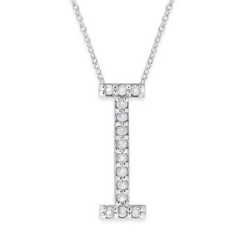 "Diamond All Star Initial ""I"" Necklace in 14K White Gold with 14 diamonds weighing .14ct tw."