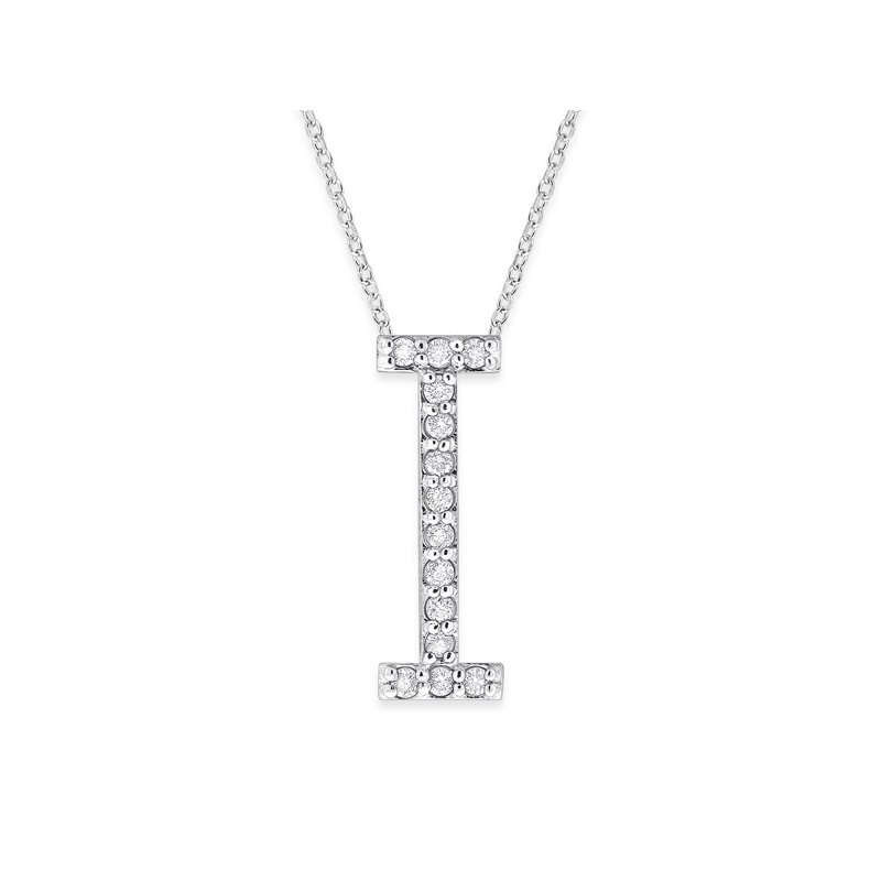"KC Designs Diamond All Star Initial ""I"" Necklace in 14K White Gold with 14 diamonds weighing .14ct tw."