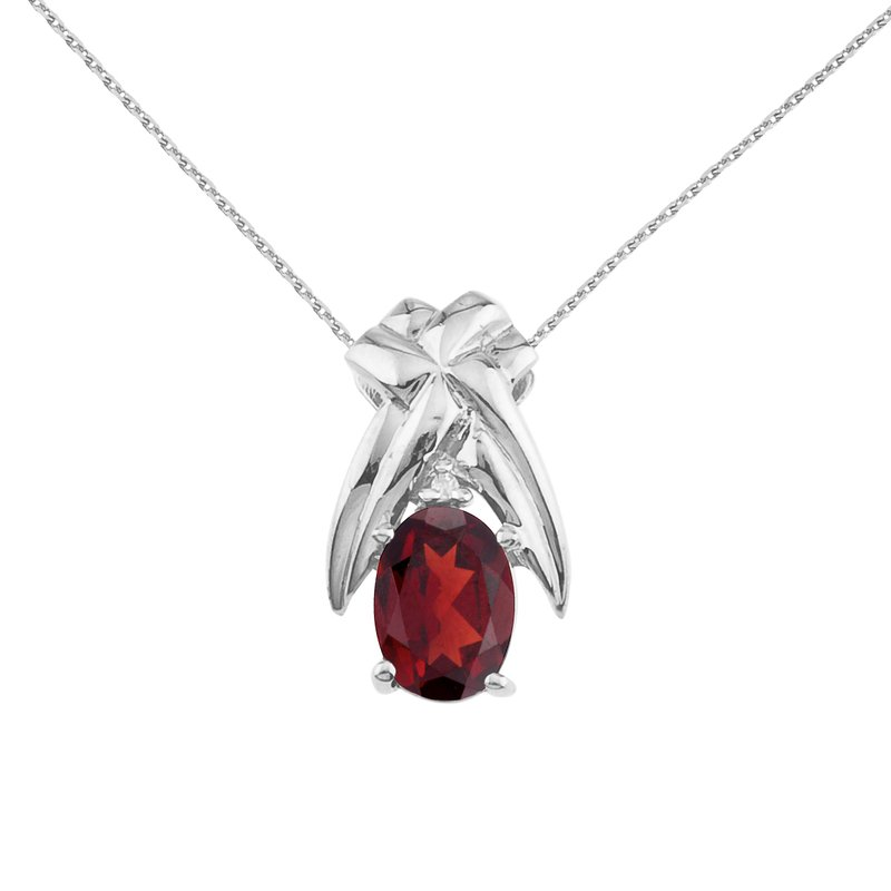 Color Merchants 14k White Gold 7x5 mm Garnet and Diamond Oval Shaped Pendant