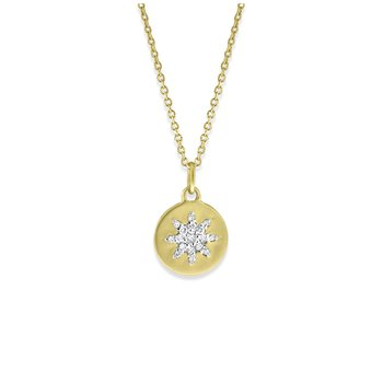 Diamond Starburst Mini Disc in 14K Yellow Gold with 17 Diamonds Weighing .11 ct tw