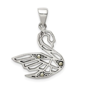 Sterling Silver Antiqued Marcasite Swan Pendant