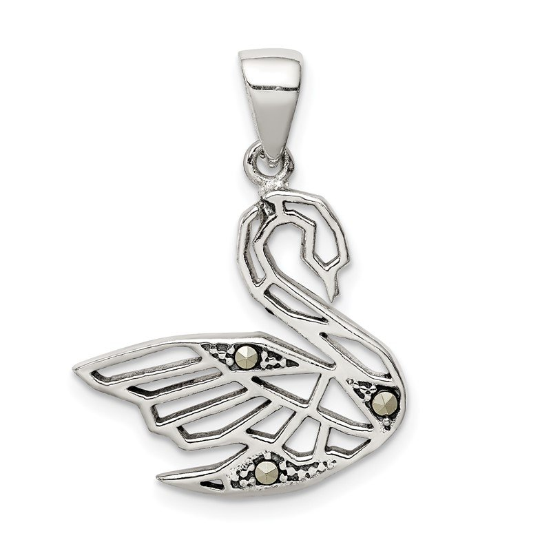 Quality Gold Sterling Silver Antiqued Marcasite Swan Pendant