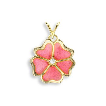 Pink Rose Pendant.18K -Diamond - Plique-a-Jour