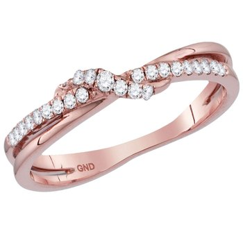10kt Rose Gold Womens Round Diamond Crossover Stackable Band Ring 1/6 Cttw