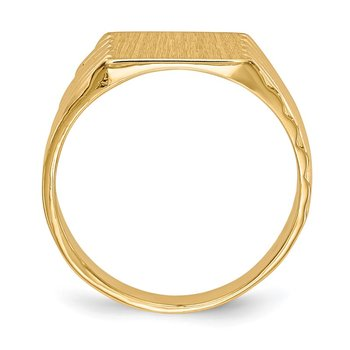 14k 9.0x9.0mm Closed Back Signet Ring
