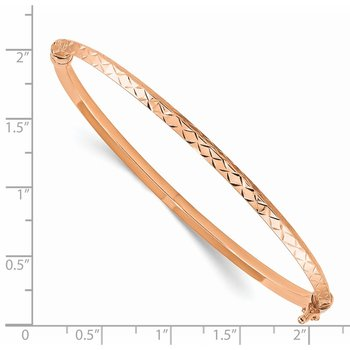 14k Rose Gold Polished Diamond-cut Hinged Bangle Bracelet