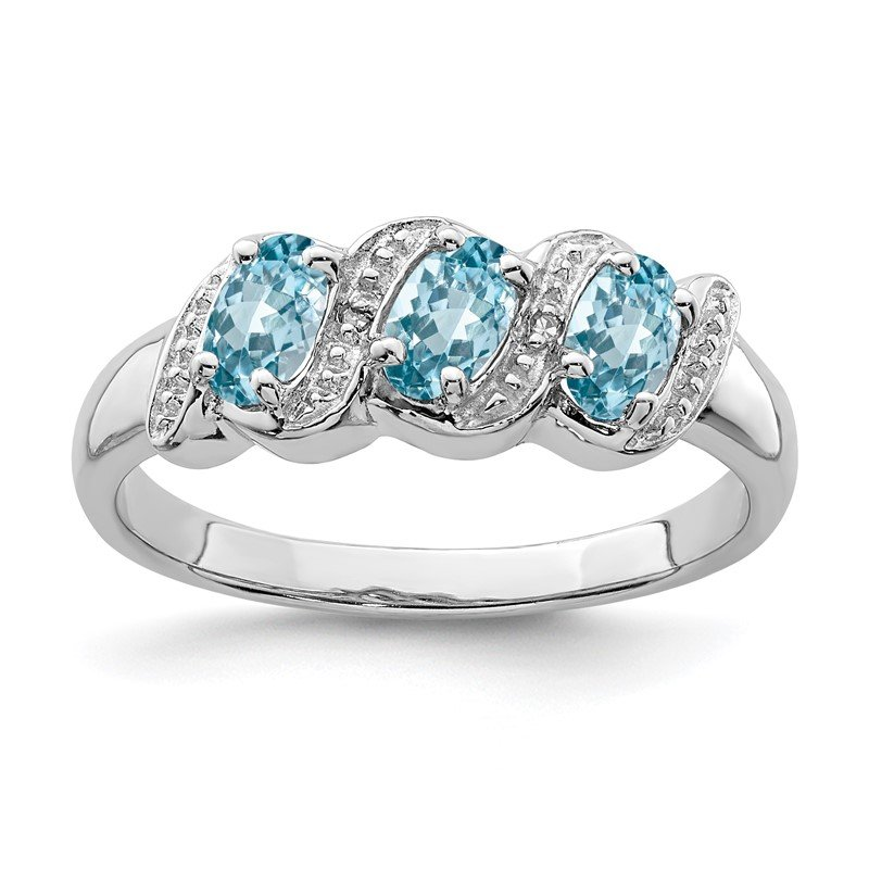 Quality Gold Sterling Silver Rhodium Light Swiss Blue Topaz & Diamond Ring
