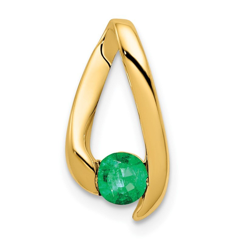 Quality Gold 14k 4mm Emerald pendant