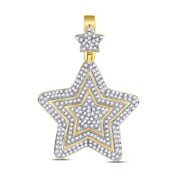 10kt Yellow Gold Mens Round Diamond Concentric Star Charm Pendant 3/4 Cttw