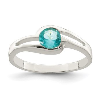 Sterling Silver Light Blue Round Bezel CZ Ring