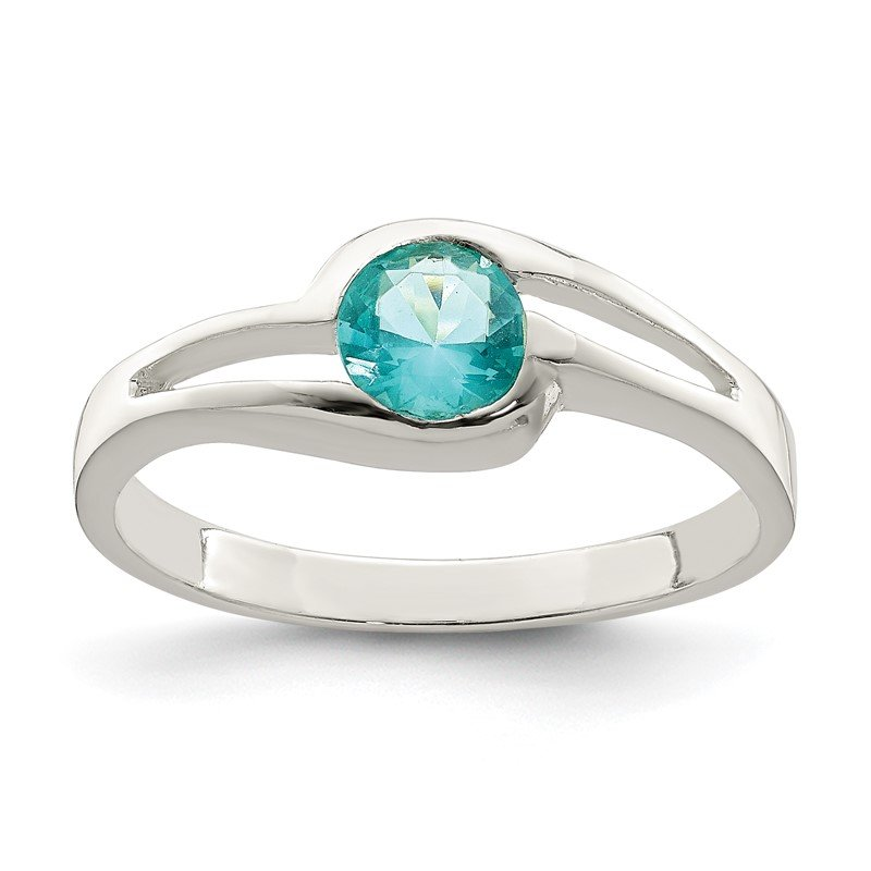 Quality Gold Sterling Silver Light Blue Round Bezel CZ Ring