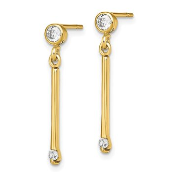 Sterling Silver Gold-tone Polished Bar w/CZ Post Dangle Earrings