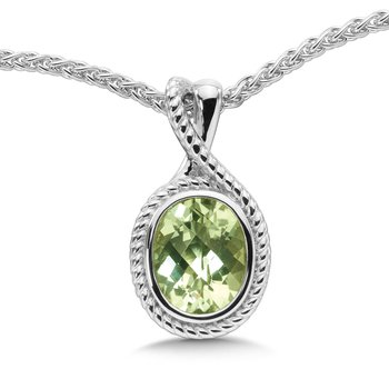 Sterling Silver & Green Amethyst Pendant