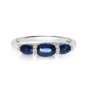 14k White Gold 3 Stone Oval Sapphire and Diamond Ring