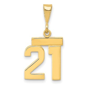 14k Small Polished Number 21 Charm