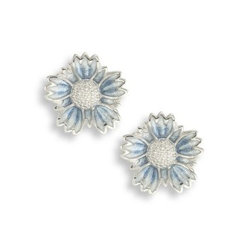 Blue Coastal Tidytip Flower Stud Earrings.Sterling Silver