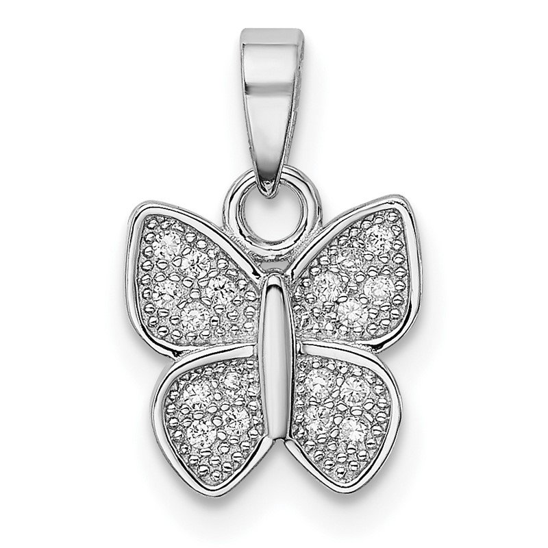 Quality Gold Sterling Silver Rhodium-plated CZ Butterfly Pendant