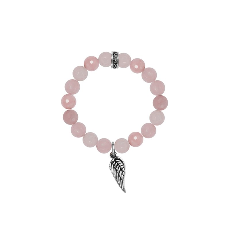 King Baby 10Mm Rose Quartz Bracelet W/ Silver Wing