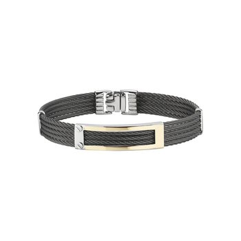 Black 5 Row Cable Bracelet with Rectangular 18kt Yellow Gold Station